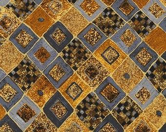Robert Kaufman Gustav Klimt Grey Gray Charcoal Black Gold Yellow Cotton Gilded Diamond Fabric BTY 17184-133