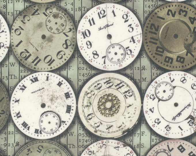 Free Spirit Tim Holtz - Eclectic Elements - Timepieces Time Pieces Clock Watch Gears Fabric PWTH003 BTY