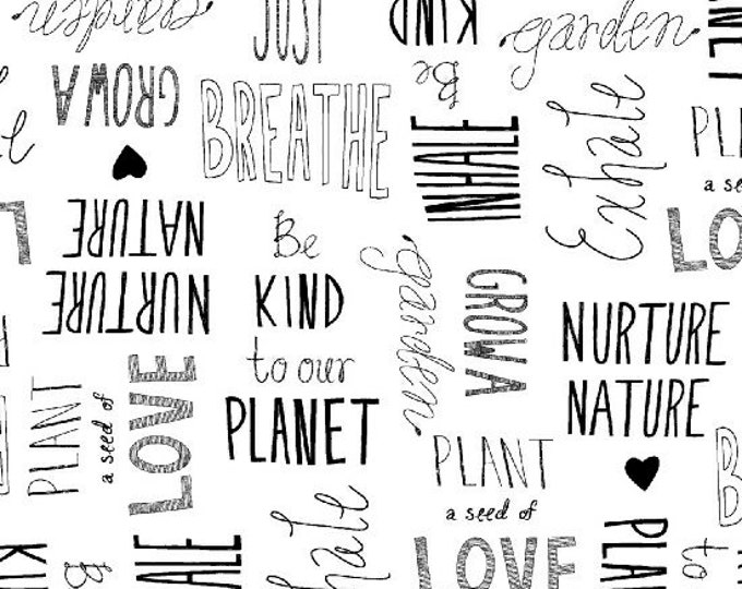 Windham Love the Earth Writing Nature Planet Black White Writings  Fabric BTY 51498-1