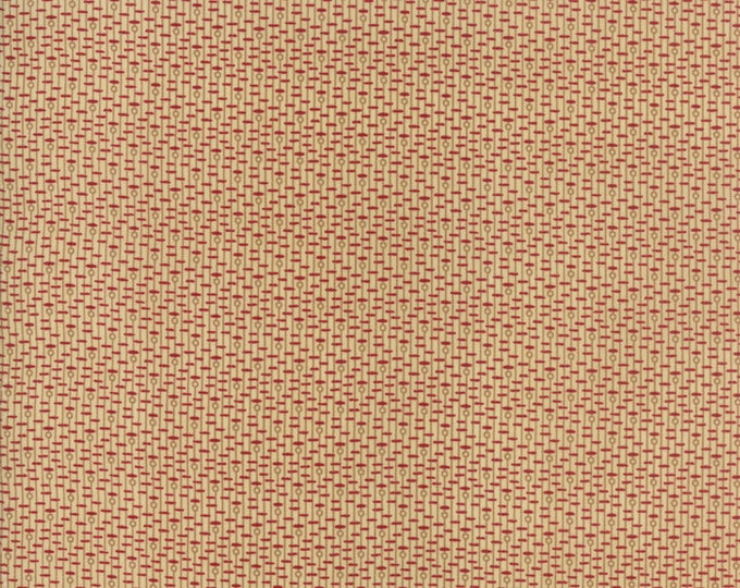 Moda New Hope Jo Morton Beige Tan Red Dash Circle Civil War Fabric 38034-11 BTY