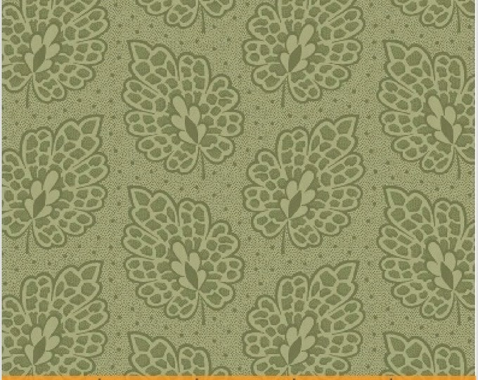 Windham Evelyn Floral Sage Green Tonal Leaf Civil War Reproduction Fabric 41985-2 BTY
