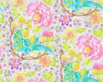 Bird Birds On A Wire Whimsy White Cotton Fabric Kanvas Studio Lets Tweet Yard