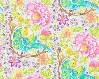 Free Spirit Laura Heine A Bird in Hand Gray Pink Purple Floral Bird Fabric PWLH008 BTY