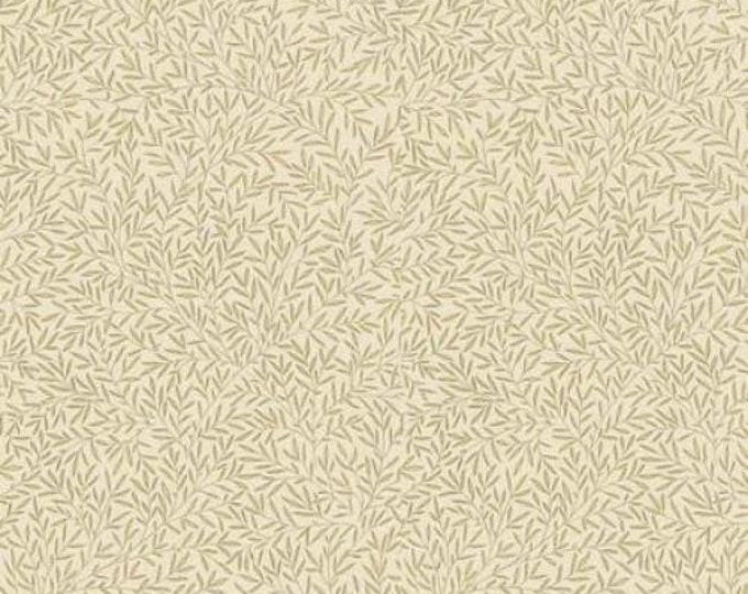 Free Spirit Kelmscott by Morris & Co. Lily Leaf Cream Beige Tan Leaves Leafy Fabric PWWM004 BTY