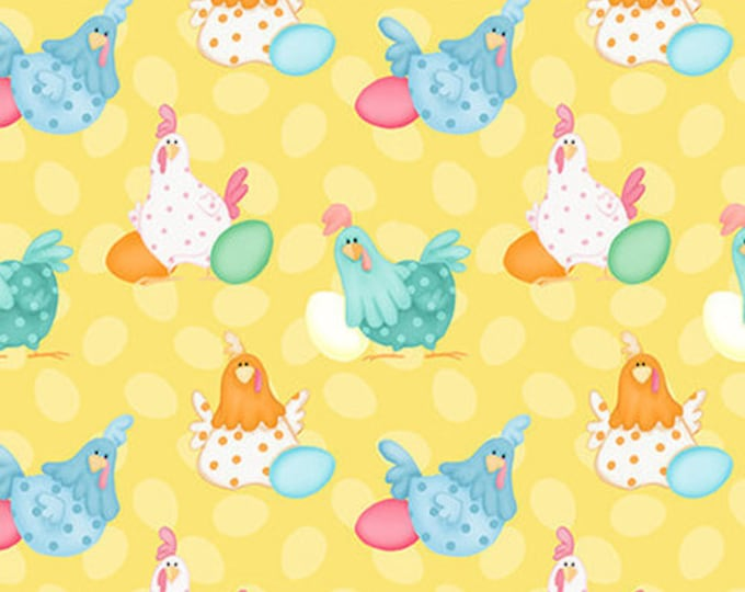 Henry Glass Fabric Down on the Bunny Farm Hens Yellow BTY