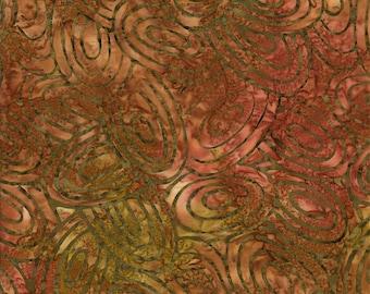 RJR Jinny Beyer Malam Batik Brown Rust Green Ovals Batik 2143-002 Fabric BTY