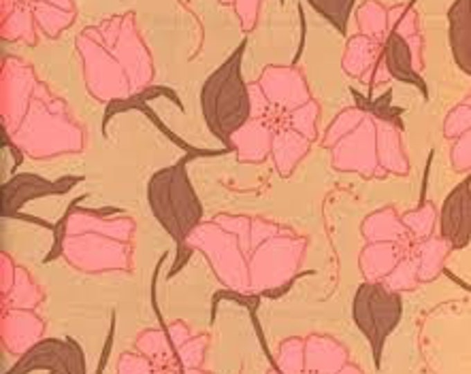 Free Spirit Designer Valori Wells Olive Rose Cotton Fabric BTY