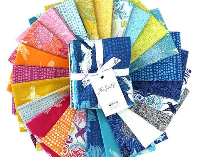 FreeSpirit Murmur Valori Wells Bright Pink Blue Green Floral Hummingbird Prints 24 Fat Quarter Fabric