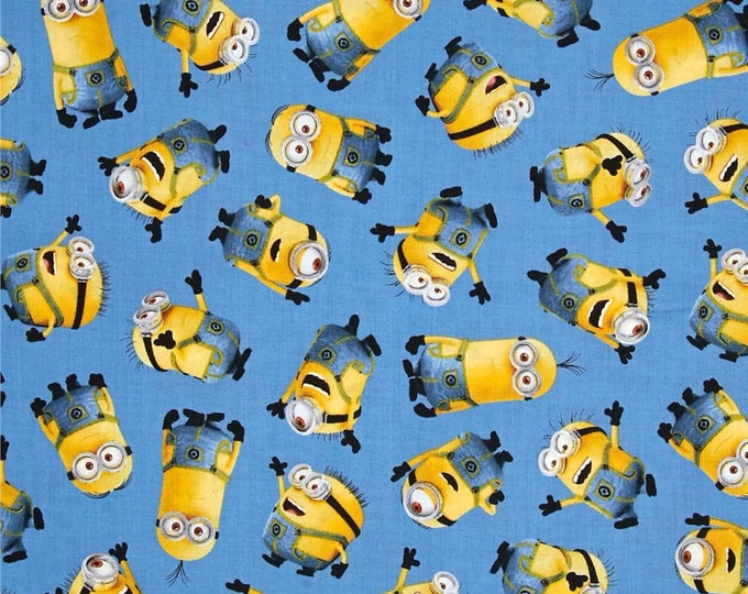 Despicable Me Minion Tossed Blue Bob Kevin Stuart Fabric BTY 1 Yd