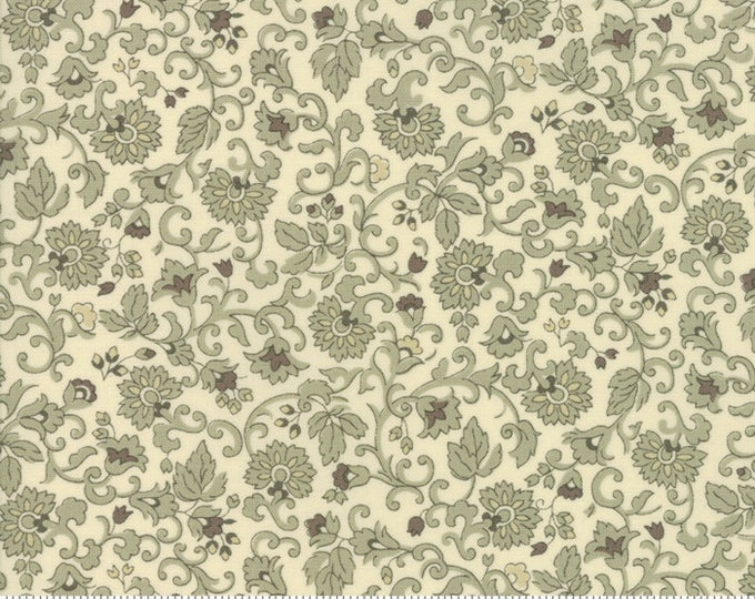 Moda Evelyn's Homestead Betsy Chutchian Porcelain Cream Grey Floral Reproduction Civil War Fabric BTY 31569-13