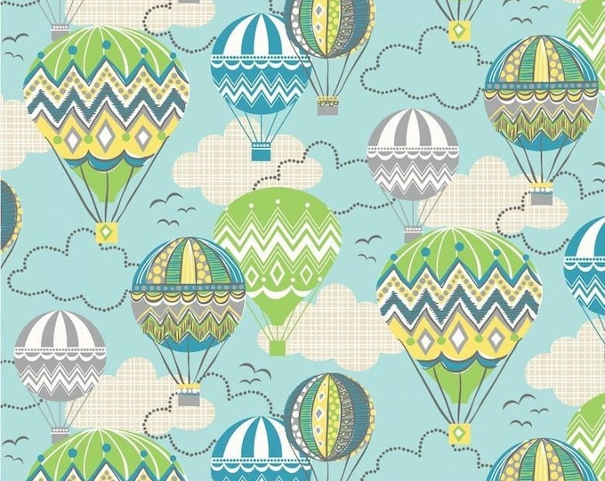 Blend Blown Away Josephine Kimberling Hot Air Balloon Blue Green Yellow Fabric BTY