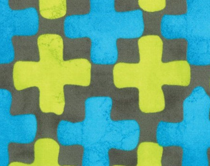 Moda Simple marks by Malka Dubrawsky cotton Blue and Green cross designs 23222-13 BTY