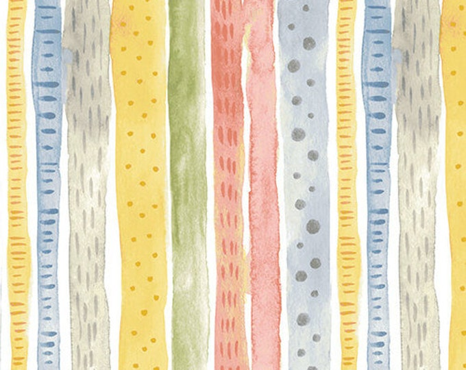Henry Glass Fabric 9008-18 Multi Watercolor Stripe Cotton  BTY