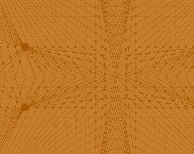 Andover Quantum Giucy Giuce Interconnection Rust Orange Graph Line Fabric BTY 8957-O