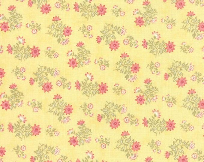Moda Whitewashed Cottage Daffodil Yellow Small Floral 3 Sisters Gray Shabby Fabric 44066-15 BTY
