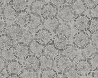 Quilting Treasures Life Enjoy the Ride Grey Gray Bicycle Bike Wheels Fabric 23443-K BTHY