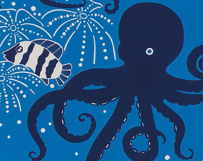 Alexander Henry Fish Ocean Dark Blue Fish Octopus Octavius 8733-C Fabric BTY