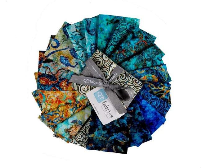 Quilting Treasures QT Fabrics Oceana Dan Morris Ocean Seashell Turtle Fabric 19 Fat Quarter Bundle