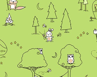 Ink and Arrow Fabrics Camp S'mores Smores Green Scenic Camping Trailer Fabric BTHY
