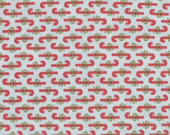 Moda Snowfall Prints Minick and Simpson Blue Green Red Peppermint Candy Cane Holiday Fabric 14830-14 BTY