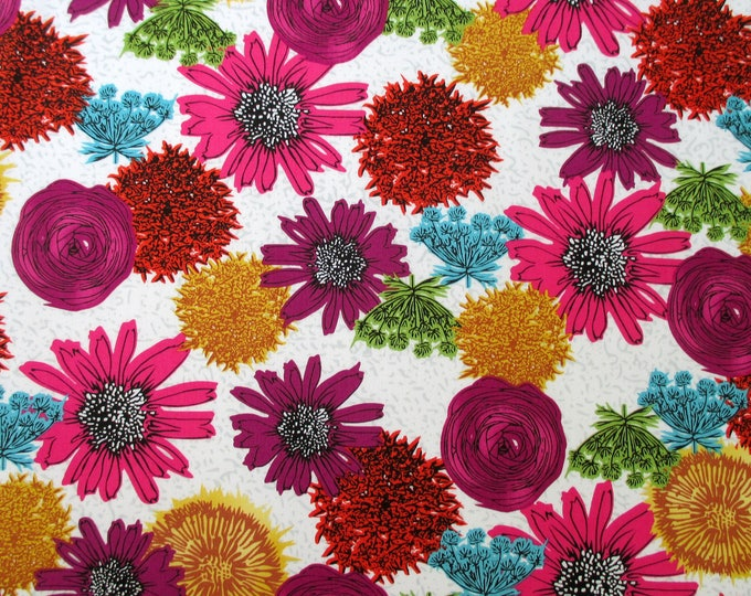 NEW Makers Home Large Floral Pink Orange Natalie Barnes Windham fabric BTY