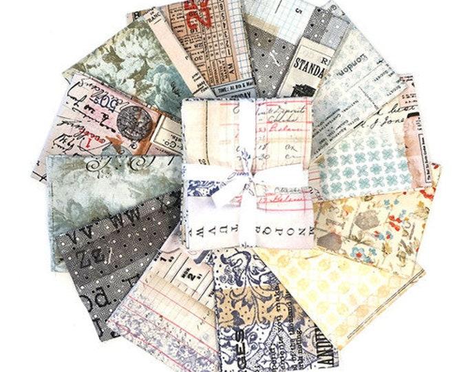 FreeSpirit Memoranda Tim Holtz Newspaper Ledger Floral Vintage Fabric 12 Fat Quarters Bundle