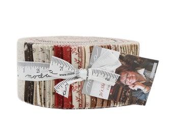 Moda Jo's Shirtings Jo Morton Red Cream Red Tan Jelly Roll 2.5 Fabric Strips