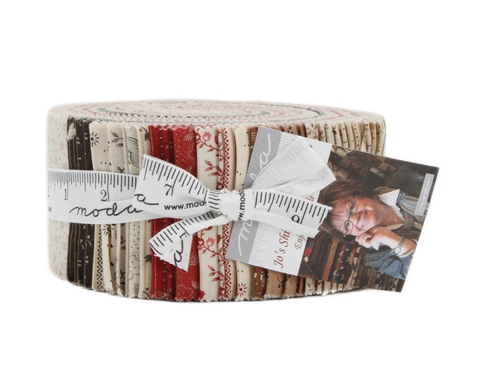 Moda Jo's Shirtings Jo Morton Red Cream Red Tan Jelly Roll 2.5 Fabric Strips