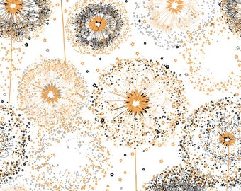 Quilting Treasures Whisper Dandelion Flower Puff Wish White Black Gold Fabric 26765-Z BTHY