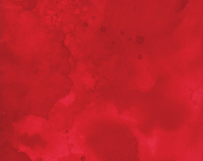 Moda Watercolor Scarlet Red Crimson Tonal Mottled Background Fabric 26116-65 BTY
