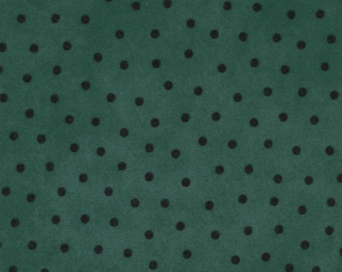 Maywood Woolies Medium Teal Blue Green with Black Polka Dot FLANNEL 18506-BG Fabric BTHY