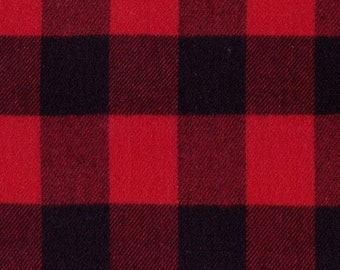 Marcus Primo Plaids Flannel Classic Tartans Red Black Buffalo Plaid Fabric J372-0111 BTY
