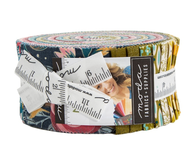 NEW Moda Nova BasicGrey Pink Green Teal Navy Blue Floral Geometric Jelly Roll 2.5 Fabric Strips