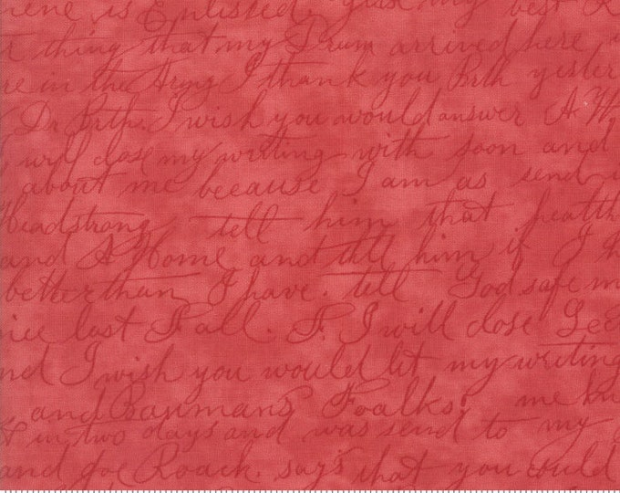Moda POETRY Red Cursive Writing Tonal 3 Sister's Shabby Fabric 3728-30 BTY