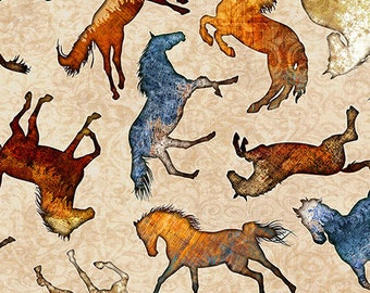 Quilting Treasures Mustang Sunset Cream Off White Wild Horse Silhouette Fabric BTY 26484-E