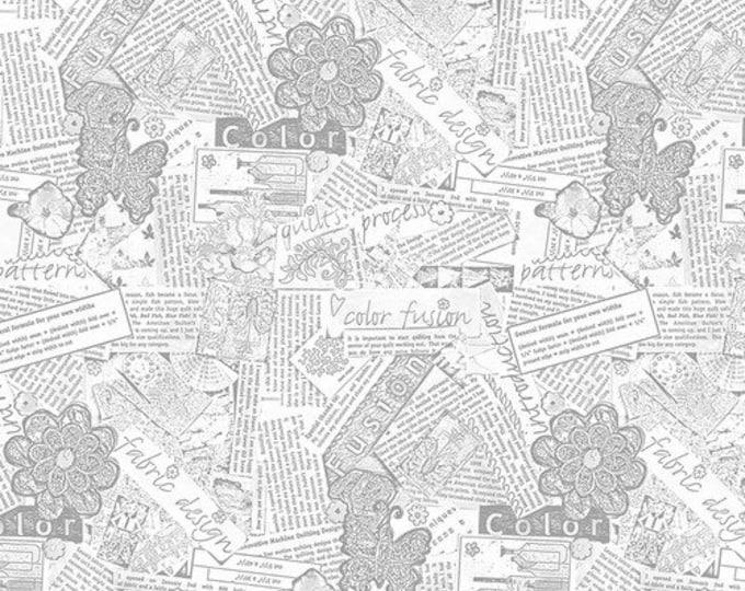 Free Spirit Laura Heine Collage Newsprint Neutral Words Fabric PWLH015 BTY