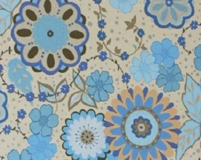 Free Spirit Cotton  Olive Rose Blue Medallion large floral print with grey background  07600-59  BTY