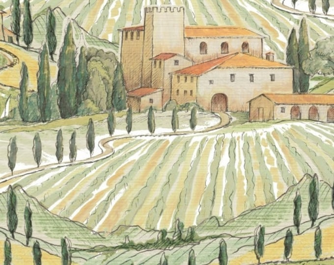 Windham Bella Toscana Tuscany Italy Countryside Villas 51355-X Fabric BTY