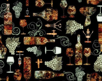 Quilting Treasures Black Rust Perfectly Vintage Wine Bottle Glass Fabric 25903-J BTY
