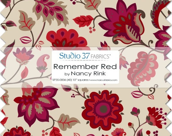 Marcus Remember Red Nancy Rink Red Tan Floral Layer Cake 40 10  Inch Squares Fabric