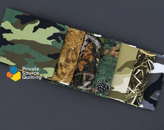Windham Camo Military Hunting Blender Green Brown Fabric 7 Fat Quarters FQ