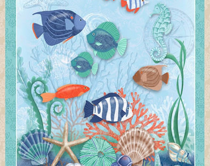 Studio E Fabrics Coastal Dreams Ocean Beach Urchin Shell Seashell Fish Fabric 4860P-60 BTP 24 x 42