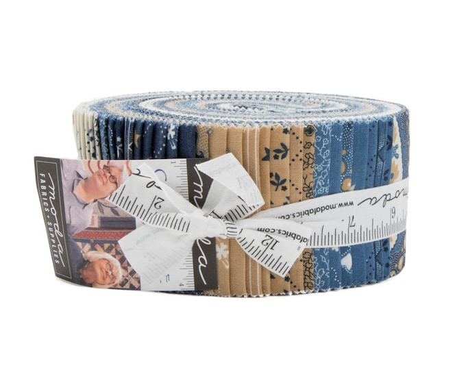 Moda Minick and Simpson Crystal Lake Blue Yellow White Tan Beige Jelly Roll 2.5 Fabric Strips