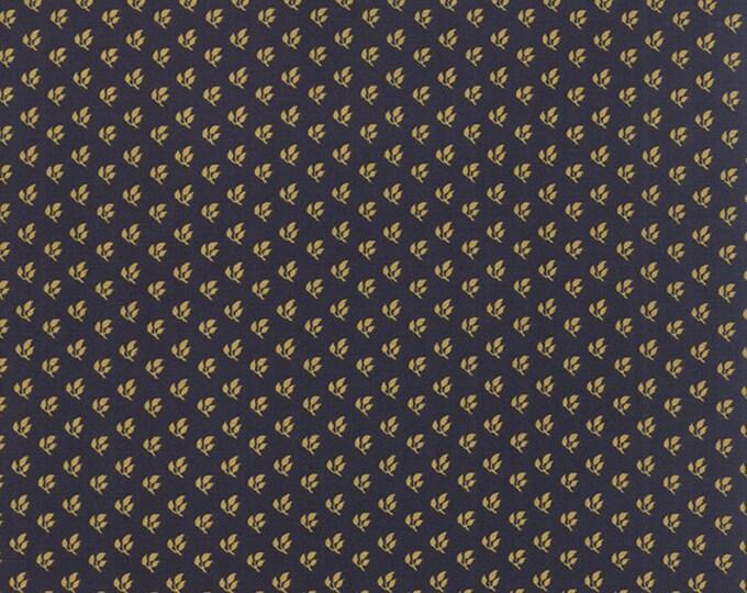 Moda Elizas Indigo by Betsy Chutchian Blue Gold Leaf Civil War Reproduction Fabric 31506-13  BTY