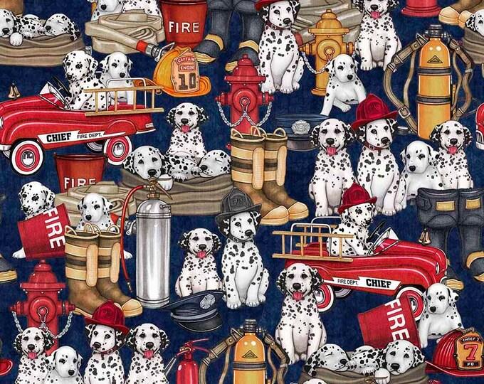 5 Alarm Fire Fighter Dalmatian Dog Truck Gear Hydrant Navy Blue 26297-N Fabric BTY