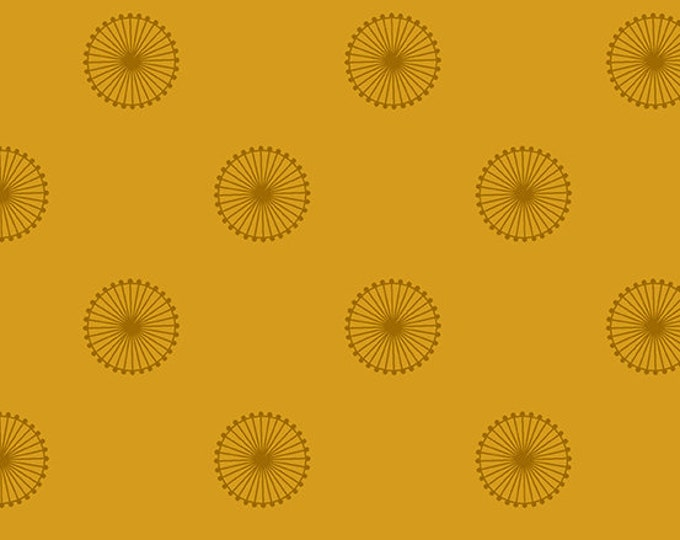 Andover Quantum Giucy Giuce Chromosome Siena Yellow Orange Wagon Wheel Circle Fabric BTY 8961-Y