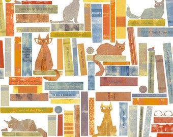 Windham Smarty Cats Cat and Book Library Orange White Blue Kitty Fabric 42836-1 BTY