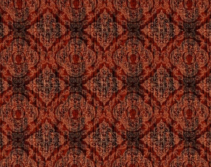 Unbridled Western Horse Cowboy Rust Red Horseshoe Swirl Scroll Fabric 24696-T BTY