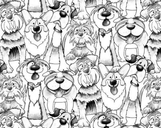 Blank Textiles Fabric Dog Gone Fun Black White Dog Puppy Doggie Cartoon Fabric BTY