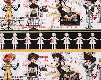 Quilting Treasures She Who Sews Handmaids Stripe Border Janet Wrecker Frisch Fabric BTY 1 yd